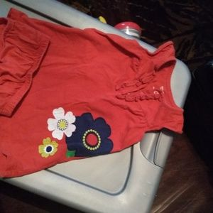 Carter's Baby Girl Red Orange Dress With Flower